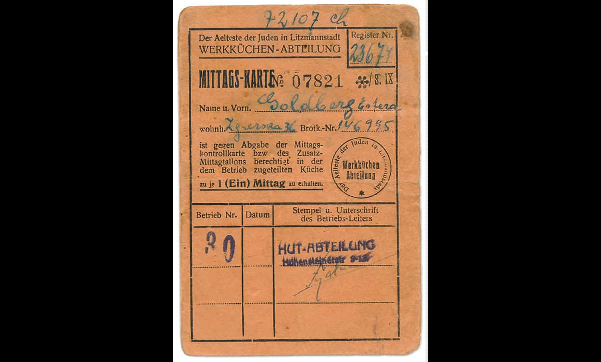 This lunch card was owned by Esther Goldberg, and entitled her to one midday meal from a factory kitchen in Łódź, where Esther worked in the hat department in 1944. The Łódź Ghetto had over 100 factories, which employed thousands of Jewish workers producing large amounts of goods for the German war effort.