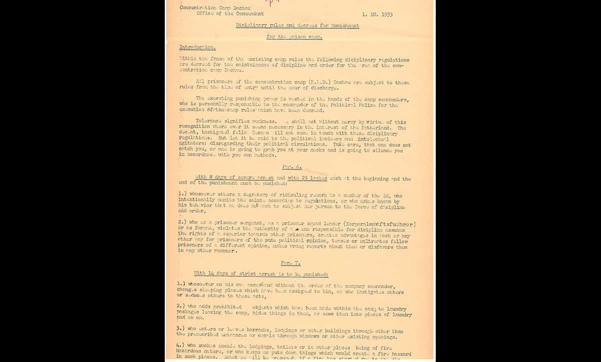Punishment and torture were common across the early camps. This document is a copy of the disciplinary rules for Dachau Concentration Camp, issued on 1 October 1933.  This document is a translation used in the Nuremberg War Crimes Trials.