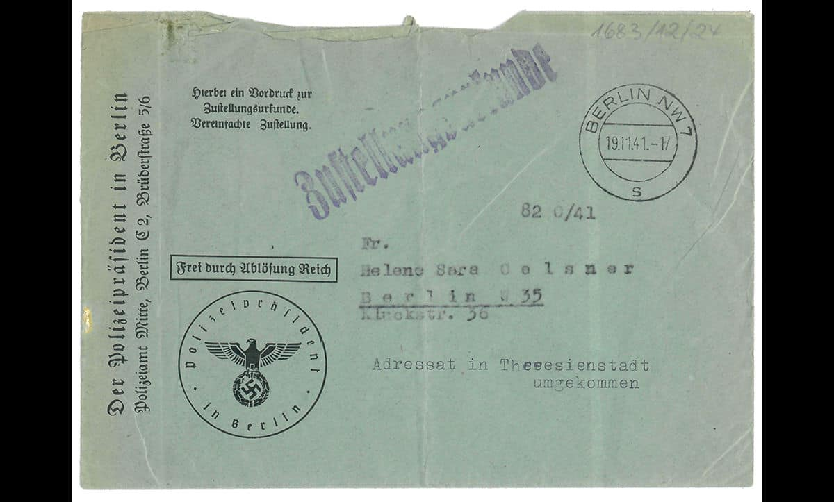 Living conditions in most ghettos were very poor and survival rates were low. This envelope, dated 19 November 1941, is addressed to Helene Sara Oelsner in Berlin. It did not reach her. Typed underneath the address is a message: 'return to sender, recipient died in Theresienstadt'.