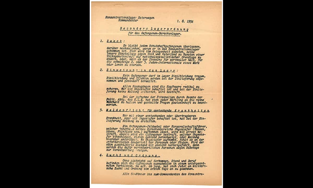 This rule book is taken from Esterwegen. Esterwegen was an early Nazi concentration camp within a series of camps first established in the Emsland district of Germany. It was established in the summer of 1933 as a concentration camp for 2000 so-called political Schutzhäftlinge (protective custody prisoners) and was for a time the second largest concentration camp after Dachau. The rule book was issued by SS Gruppenführer Theodor Eicke on 1 August 1934 and is split into two parts: general rules and regulations, and then discipline and punishment.