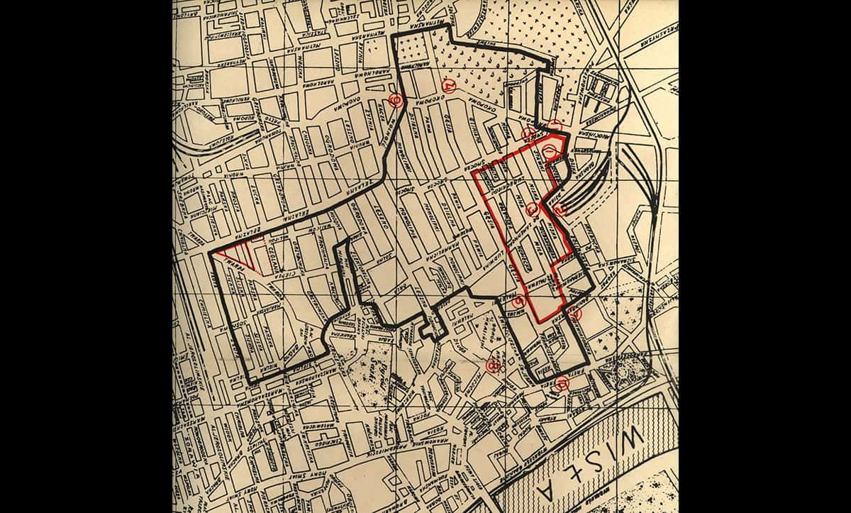 This map shows the boundaries of the Warsaw Ghetto, where 400,000 people were incarcerated. It was published by the Yiddish Scientific Institute in 1944.