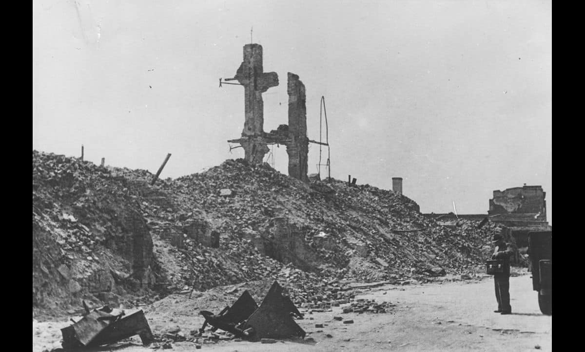 Following the order from Himmler, and the Warsaw Ghetto Uprising, the ghetto was destroyed and reduced to rubble.