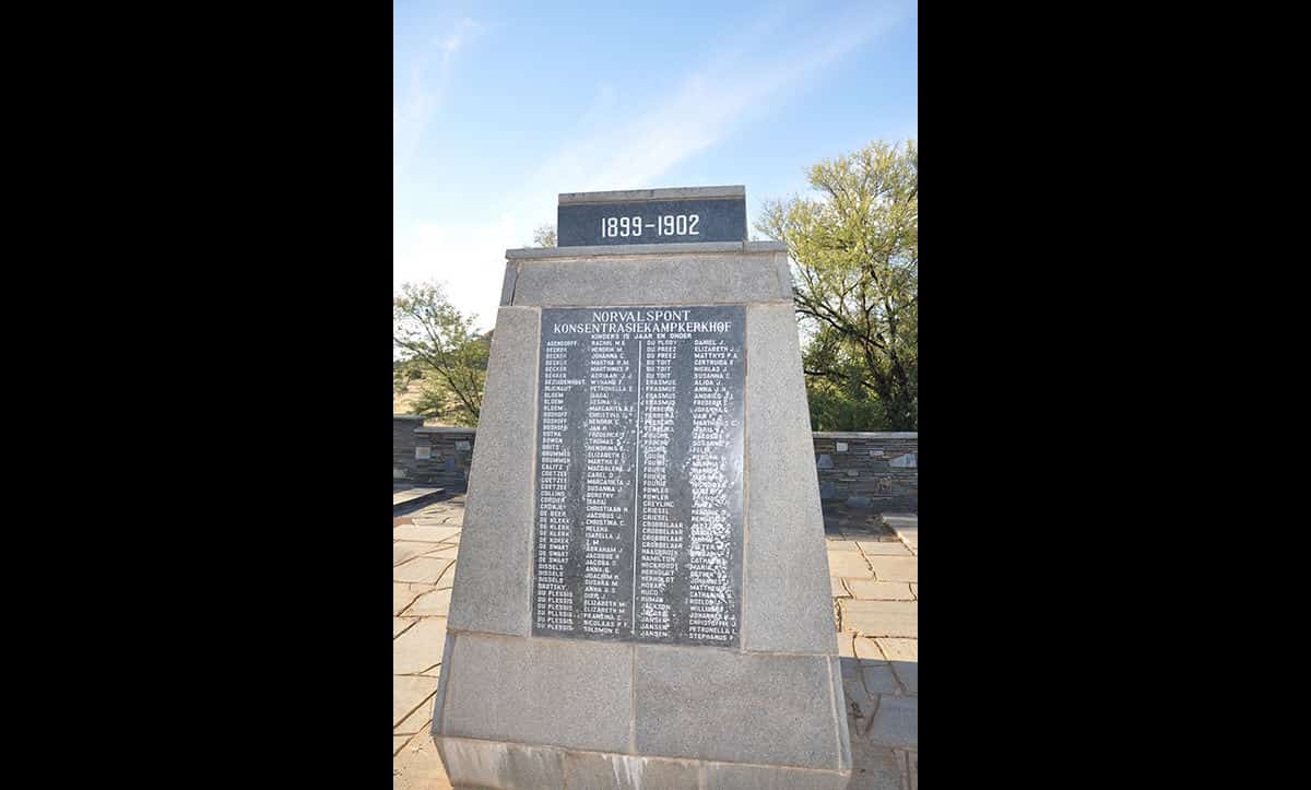 This monument remembers the victims that perished in the Norvalspont Concentration Camp. The Norvalspont Concentration Camp was established by the British in November 1900 during the Anglo-Boer War.  The camp initially housed approximately 400 women and children, but this figure soon grew to over 3000. This overcrowding led to disease, and many people died from the unsanitary conditions there.