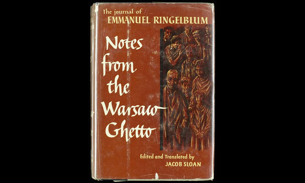 Emanuel Ringelblum (1900-1944) was the founder of an underground archive compiled within the Warsaw Ghetto. This book was written by Ringelblum and documents life within the ghetto. In 1943, Ringelblum, his wife and their son went into hiding. A year later, they were denounced, captured and shot inside the Warsaw Pawiak prison.