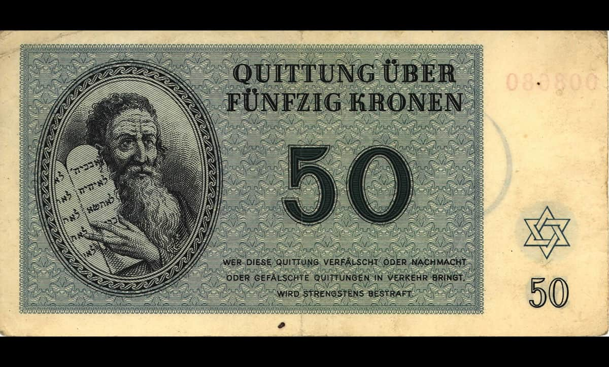 This fifty kronen bank note was issued in the Theresienstadt Ghetto in 1943. The currency was initially designed by Peter Kien, a Jewish artist incarcerated in the camp, but the image of Moses was edited from the original to create a more stereotypical image of a Jew. On arrival at the ghetto, all residents had to convert their money into this 'local currency'. This made escape from the camp more difficult, as the currency was worthless outside of the camp. The existence of this currency also added to the façade presented to the Red Cross during their visit to the camp in 1943, to make life in the camp resemble normalcy.