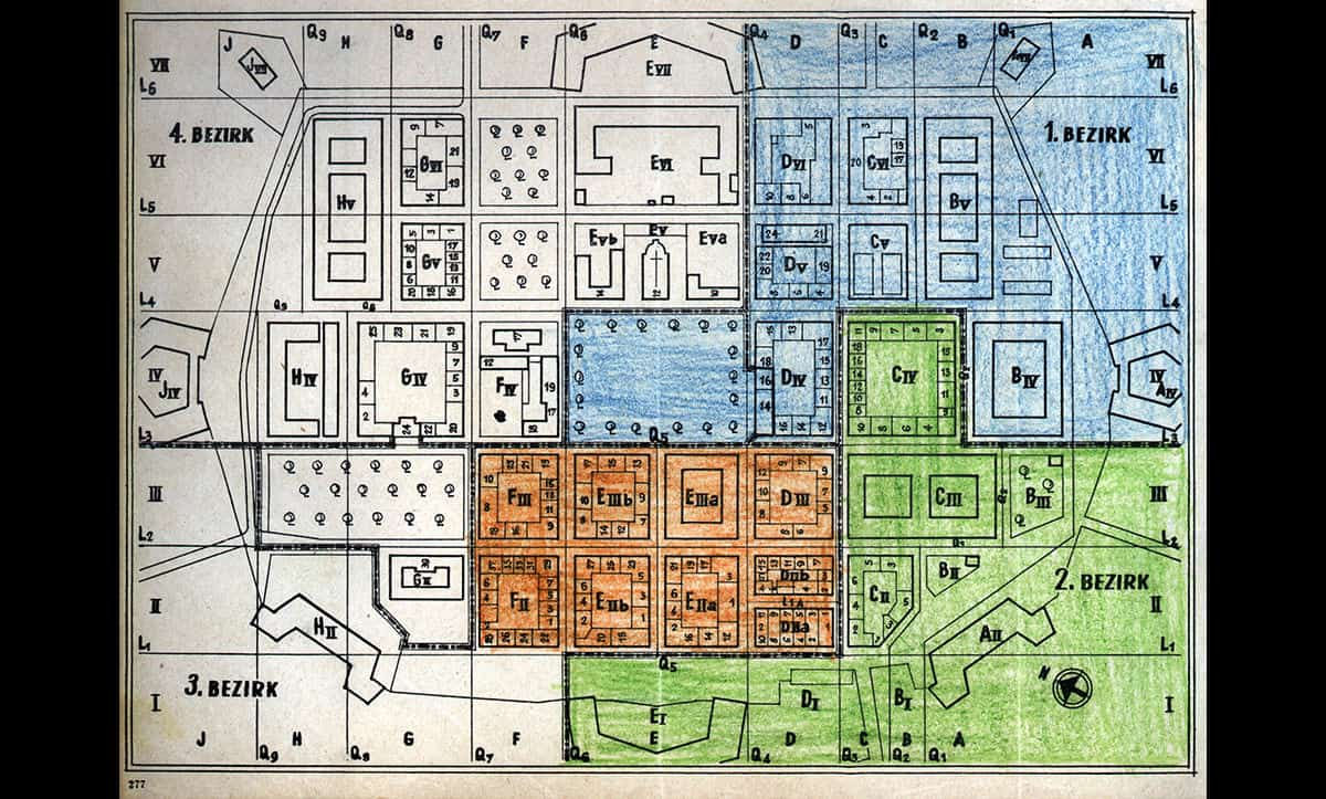 Philip Manes, a German Jew and a prolific writer, and his wife Gertrud were sent to Theresienstadt in 1942. Whilst incarcerated, Manes kept a detailed account of life in the ghetto in several diaries. This map shows a hand drawn ground plan of the ghetto from 1943.