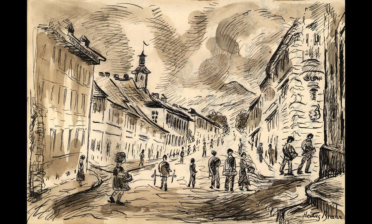 Another prisoner who contributed to Manes Theresienstadt diaries was Hedwig Brahn. This image shows a drawing by Brahn completed in 1944 depicting a street scene in Theresienstadt.
