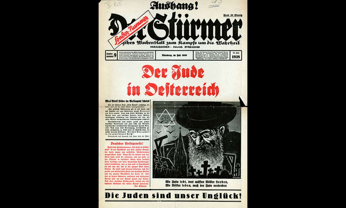The Nazis held extremely antisemitic and racist beliefs. The Nazis advocated their views through propaganda, such as this copy of the Der Stürmer party newspaper, which depicts a stereotype of a Jew. The line at the bottom of this page reads 'The Jews are our misfortune'.