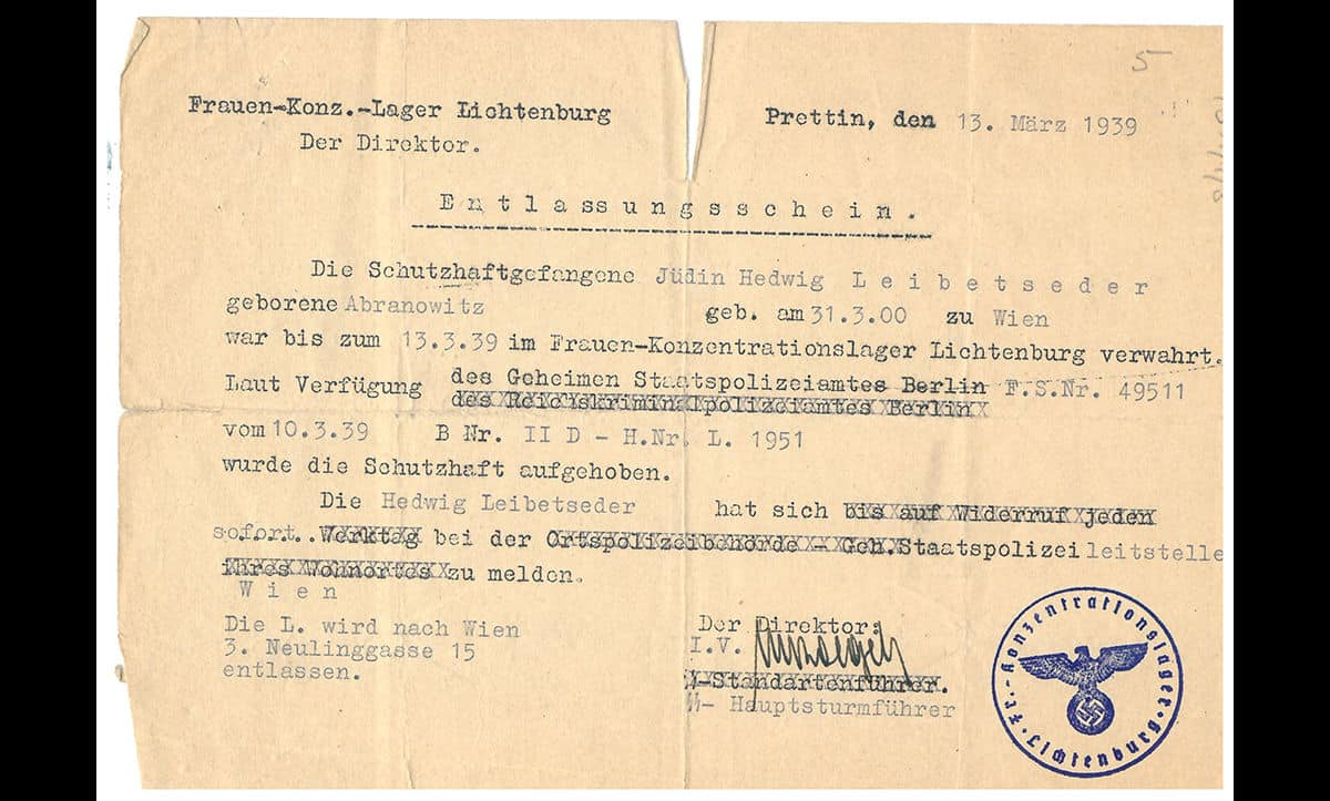 A release permit from Lichtenburg Concentration Camp for Hedwig Leibetseder, a Austrian Jew from Vienna. Hedwig was arrested in 1936 for political opposition to the Nazis. She was involved in Neu Beginnen, an anti-fascist group formed in 1929 by members of the Social Democratic Party, the Nazis' primary political rivals. She was imprisoned for two and a quarter years at Jauer and Lichtenburg.