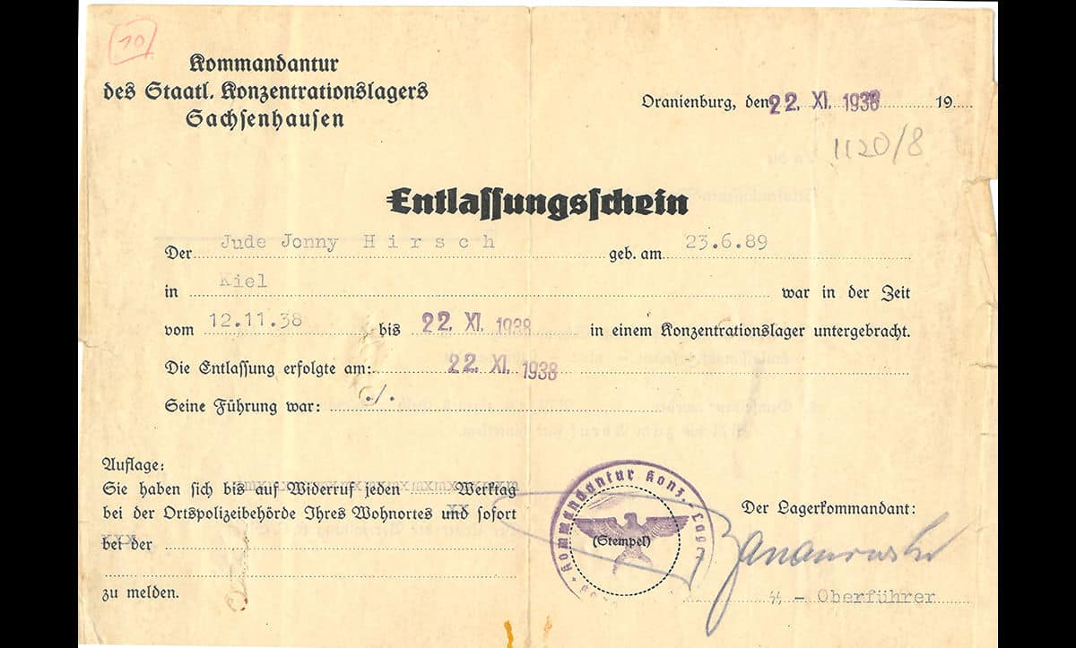Following Kristallnacht, many Jews were arrested and persecution intensified. This release permit belongs to Jonni Hirsch, a Jew from Kiel who was incarcerated in Sachsenhausen two days after Kristallnacht for 10 days. He is described on the release permit as 'Jew Jonny Hirsch'.