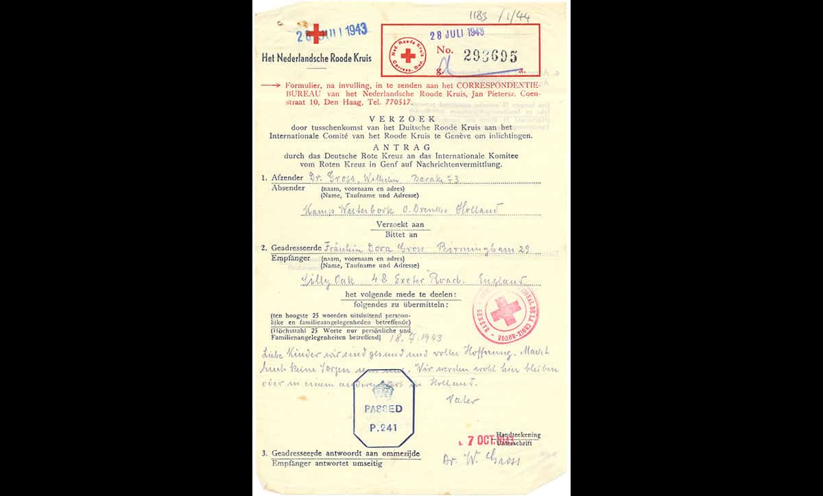 At some camps inmates could still receive and send post. The Red Cross facilitated many of these letters between countries at war with each other. This telegram was sent from Dr. Wilhelm Gross, who was incarcerated in Westerbork transit camp, to his daughter Dora Gross, who had escaped as a refugee to Britain.