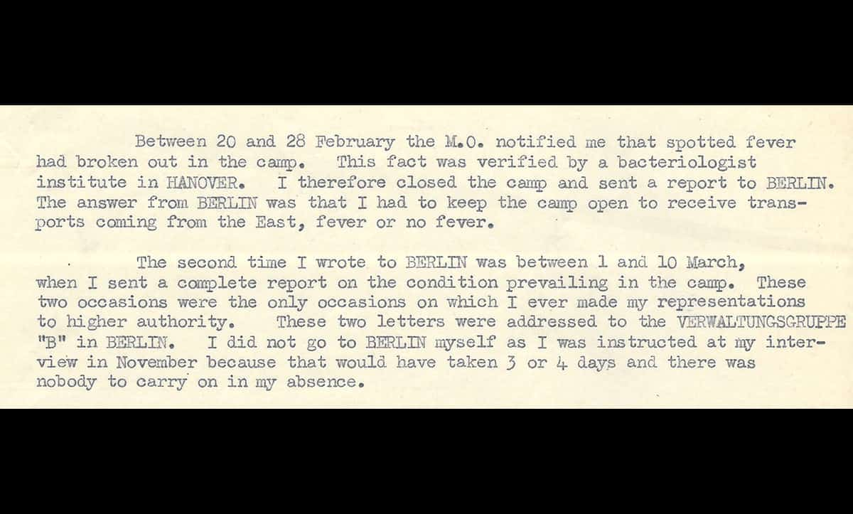 Josef Kramer was the SS officer in charge of Bergen-Belsen from May 1944 until its liberation in April 1945. After the war, he was detained by the British and put on trial, where he was sentenced to death. Prior to his death, he gave this testimony on the conditions inside the camp.