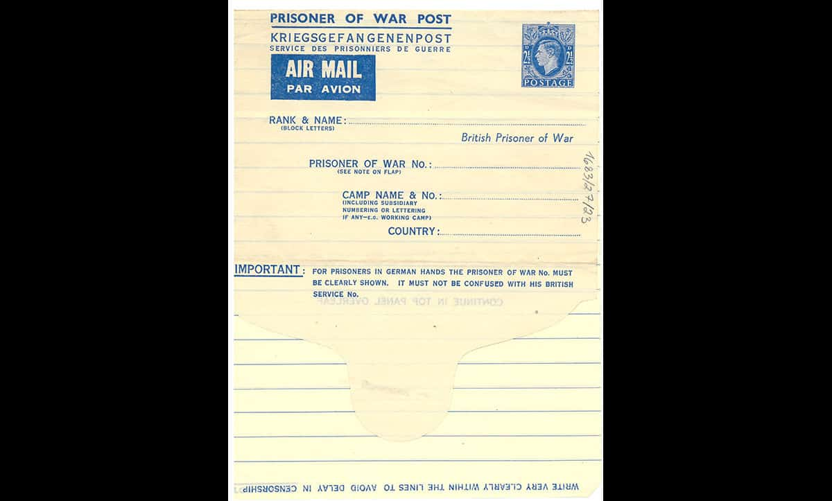 Typically, inmates in prisoner of war camps were allowed to send and receive letters from their families, although this process could take several weeks or months. This is an unused prisoner of war airmail letter.