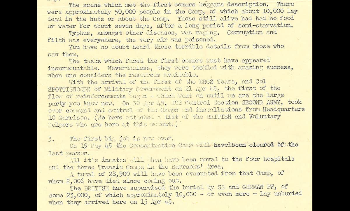 This account is taken from the papers of Captain C.C Warmer. Captain Warmer served in the Durham Light Infantry throughout the Second World War, and arrived at Bergen-Belsen three days after the British liberated the camp. Whilst there, he gathered a number of documents and photographs which serve as evidence of the atrocities of the camps.