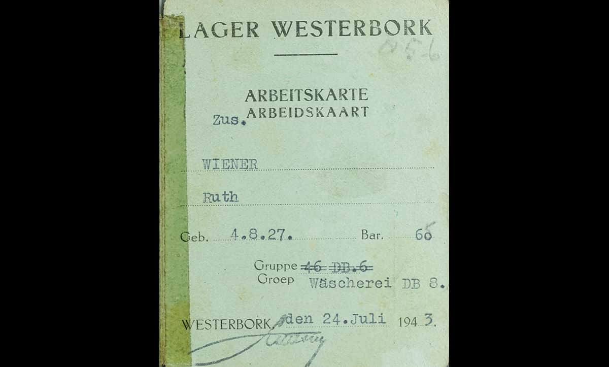 Ruth Wiener's work card for Westerbork Camp, where she was forced to work in the 'Wascherei' or laundry department. The card also indicates Ruth's birthday, showing she was just 15 at the time of imprisonment, and her barrack number (60).