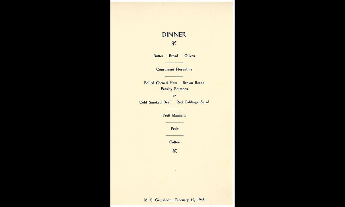 This menu is from the boat which took Ruth Wiener and her family to their new lives in America. Ruth later expressed her elation and shock at the amount and quality of the food served on the ship in comparison to the food served in Bergen-Belsen.