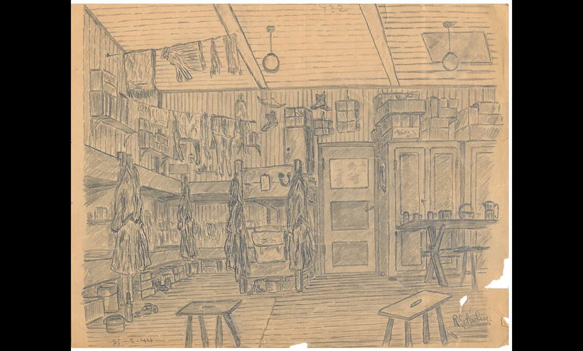 This drawing by prisoner R.G Aubrey depicts room ten of barrack fourteen at the German prisoner of war camp Marlag and Milag Nord, based in North Germany. This camp was used to incarcerate British Navy personnel from 1942 until its liberation in May 1945.