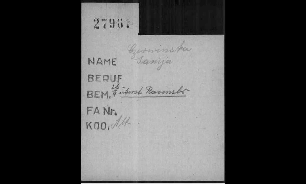 In Buchenwald, prisoners were issued with labour assignment cards, which details where they were to be forced to work. This labour assignment card belongs to Janina Czerwinska, a Polish political prisoner who arrived in Buchenwald from Ravensbrück on the 13 September 1944. On arrival, Czerwinska was assigned to work in Altenburg (signified by the word Alt next to KDO, which meant Kommando or detail). Altenburg was a sub-camp of Buchenwald, which provided forced labour for the German metalworks company Hugo Schneider Aktiengesellschaft Metallwarenfabrik.