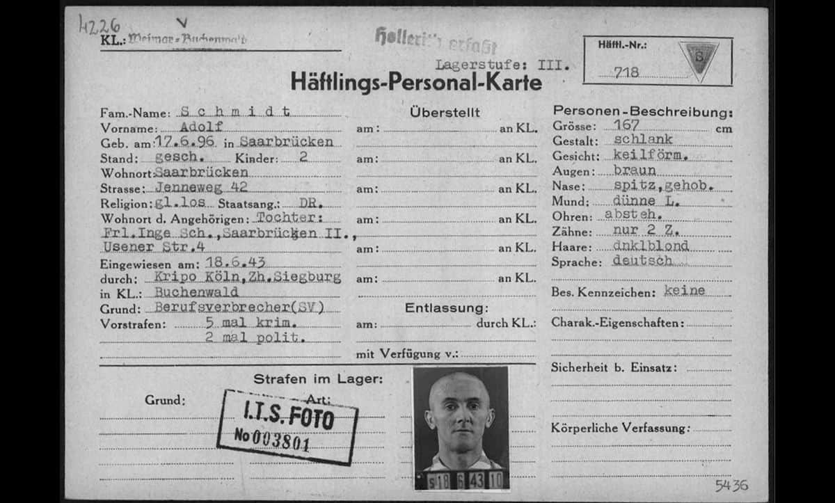 When a new prisoner arrived at a camp, they were registered and usually issued with a registration card. Some prisoners were also photographed. This prisoner registration card belongs to Adolf Schmidt, a German man from Saarbrücken who was imprisoned in Buchenwald as a political and criminal prisoner on 18 June 1943.