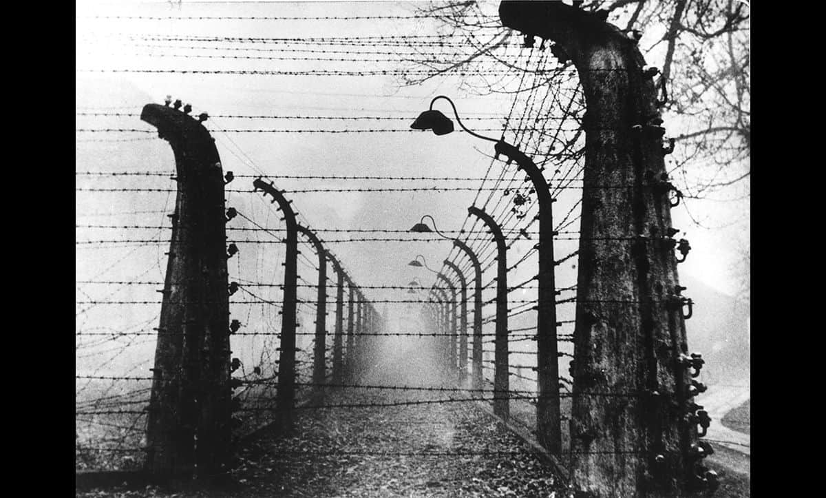 This picture shows the barbed wire double fences at Auschwitz. The Auschwitz complex was a series of camps that included several different types of camps: a concentration camp, an extermination camp, and a forced labour camp.