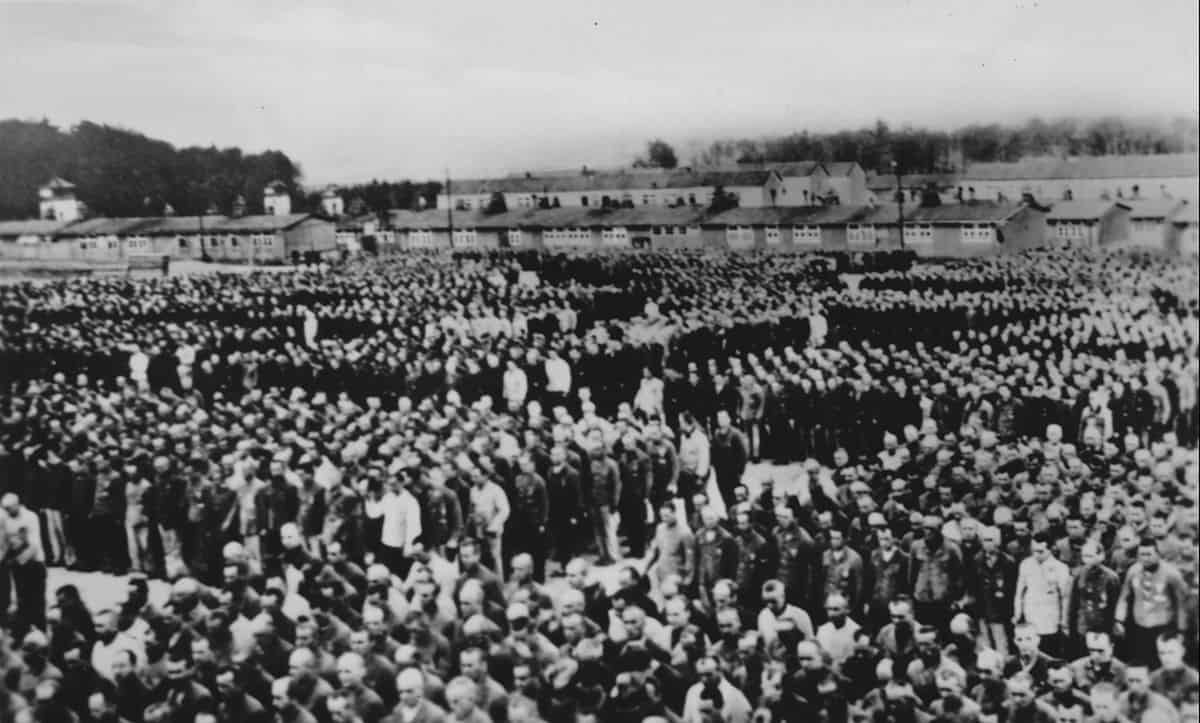 A rollcall of inmates of Buchenwald concentration camp in the 1940s.