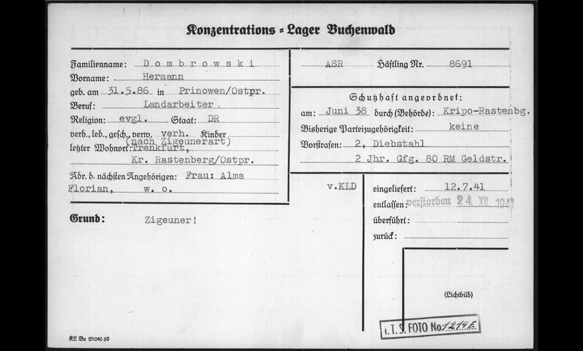 This is a registration card issued to Hermann Dumbrowski at Buchenwald Concentration Camp. Hermann is listed as a 'Zigeuner' – a German word used to describe Roma.