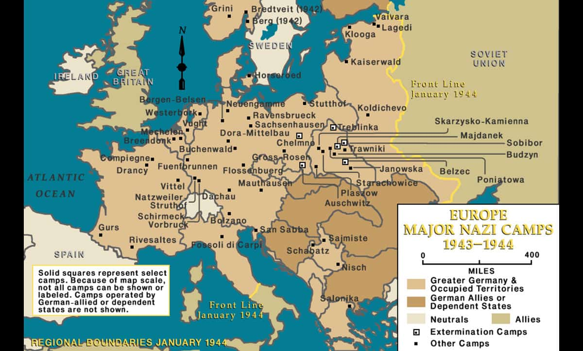 This map shows all of the major camps established by the Nazis by January 1944.
