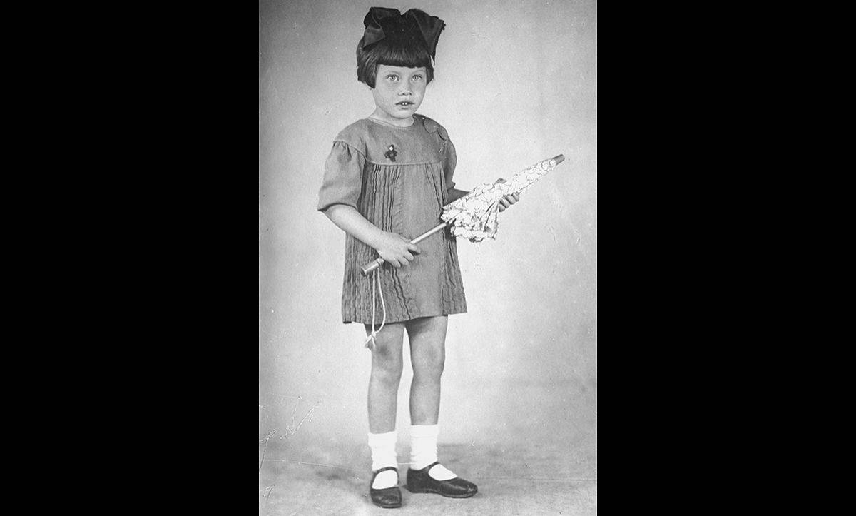 A portrait of five-year-old Mania Halef, a Jewish child from the Ukraine. She was later killed by the Einsatzgruppen during the mass execution at Babi Yar.