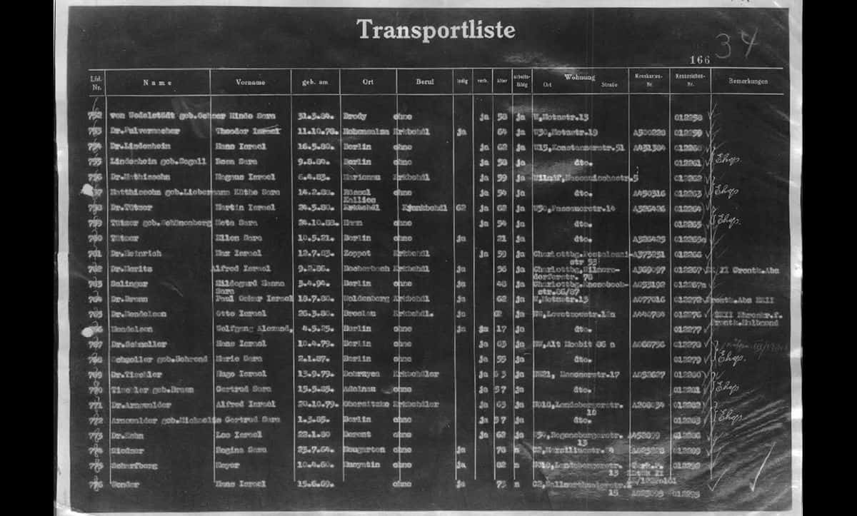 This transport list documents Hans and Marie-Elisabeth Schmoller's journey to Theresienstadt on 14 October 1942.
