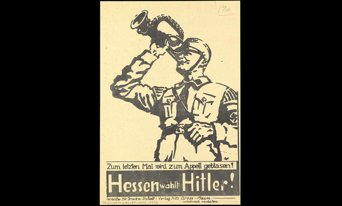 This poster was used to promote Hitler in the 1932 Reichspräsident elections, where he ran against Hindenburg for the presidency. Hitler lost the election, with 36.8% of the vote to Hindenburg's 53%. Despite losing, the election put Hitler on the map as a credible politician. The poster states 'Hesse chooses Hitler!'