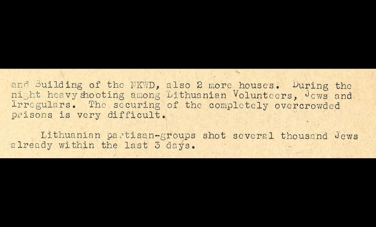 This excerpt is taken from a situation report sent to the Chief of the Security Police and SD Reinhard Heydrich on 30 June 1941. The report details the involvement and collaboration of local Lithuanians in Kovno. This document is a translation used in the Nuremberg War Crimes Trials.