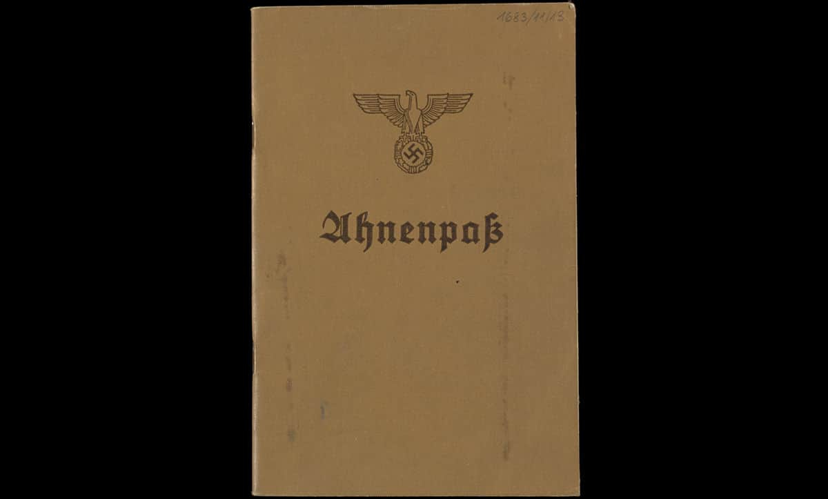 An Ahnenpass or ancestry pass belonging to Rita Jarmes. Ancestry passes were used to demonstrate Aryan heritage in Nazi Germany. The Nazis often requested Ahnenpasses as proof for of eligibility for certain professions, or citizenship after 1935.