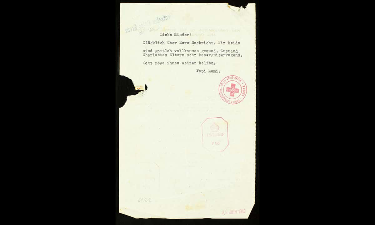 Emil and Serla were unable to emigrate. On 20 May 1942 they were deported to the Minsk Ghetto, and from there to a pine forest a few kilometres from Maly Trostinec camp. Here, they were executed by the Einsatzgruppen on 26 May 1942. This Red Cross Telegram, sent on 10 May 1942, was the last communication the Emil's daughters, Fanni and Charlotte, received from their parents.