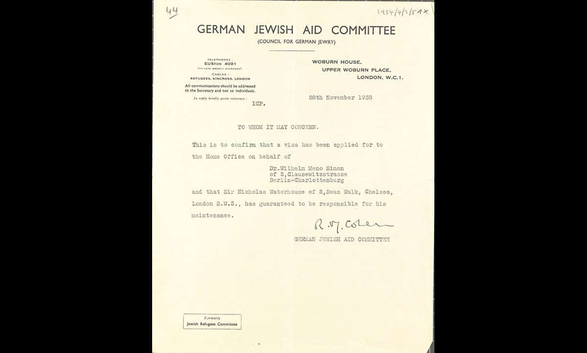 In 1938, following Kristallnacht, Simon emigrated to Britain (where his wife, Gerty, and son, Bernard, were already living) to escape further Nazi persecution. This is a copy of his sponsorship document, which, by 1938, was needed in order to get a visa for Britain.
