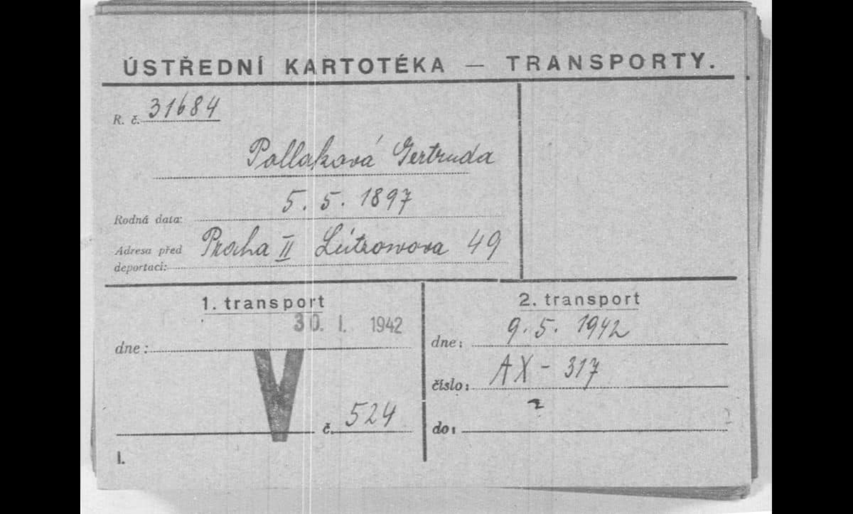 Gerta Pollak's Theresienstadt transport card, listing the date of her and Rudolf's transport to Siedliszcze on 9 May 1942.