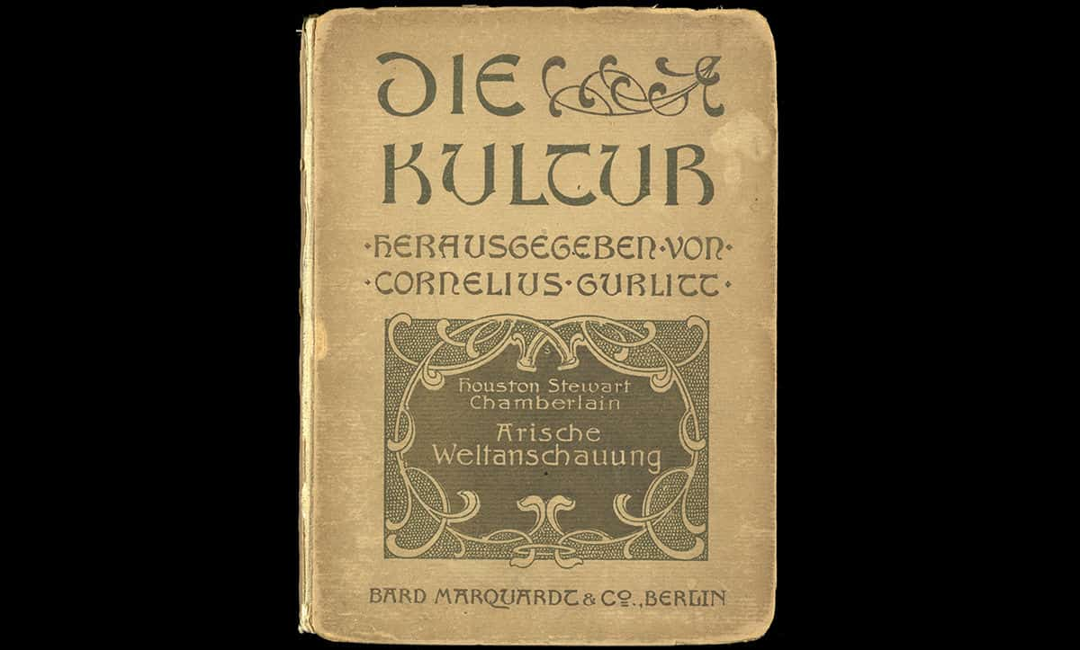 This pamphlet, entitled Aryan Worldview, was published by Houston Stewart Chamberlain in Berlin in 1905. Chamberlain was an advocate of the racial superiority of 'Aryans'. His ideas influenced Adolf Hitler and were used by the Nazis as justification for their racial policies.