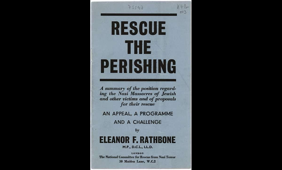 This leaflet, entitled Rescue the Perishing, was published by British MP Eleanor Rathbone in May 1943. The pamphlet urged the British public to show public support and sympathy for the victims of Nazi persecution, following reports of the Nazi massacres in the British press in 1942. Despite Rathbone's efforts, there were no major rescue efforts made following the publication of the pamphlet.