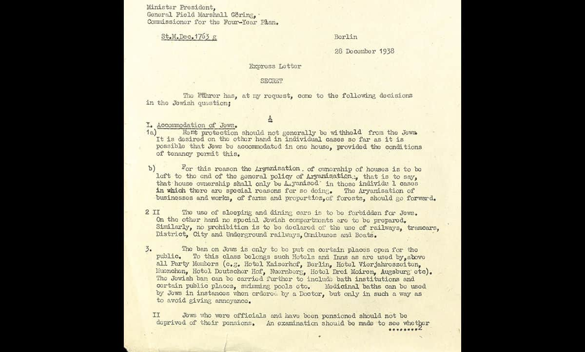 Once in power, the Nazis initiated extensive antisemitic legislation. This letter is a translation of a list of antisemitic measures issued by Göring on 28 December 1938.