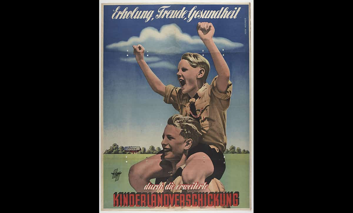 This poster, entitled 'recreation, friends, health', depicts an 'ideal' German child in accordance to the Nazis' vision and beliefs in eugenics.