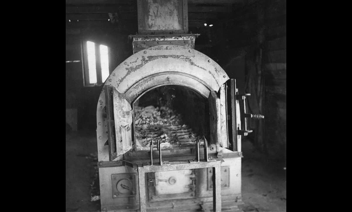 The crematorium incinerator at Bergen-Belsen concentration camp. The Nazis used this to cremate bodies of victims after they had been gassed.