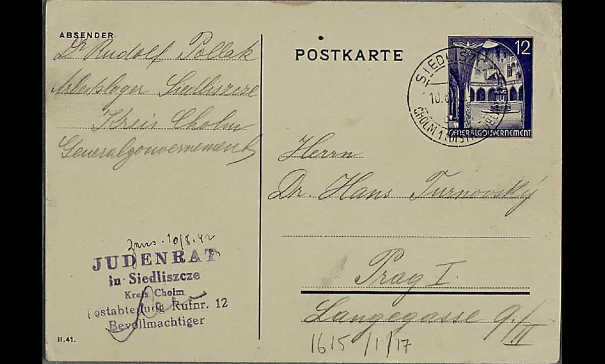 Gerta and Rudolf Pollak were assimilated middle class Jews from Prague. On 7 May 1942, they were deported by the Nazis to Theresienstadt Ghetto and shortly afterwards, on 9 May 1942 to Siedliszcze, a forced labour camp in Poland. This postcard, sent to family friend in Prague on 10 August 1942, was the last communication ever received from them. In October 1942, both Gerta and Rudolf were deported to Sobibor extermination camp and murdered.