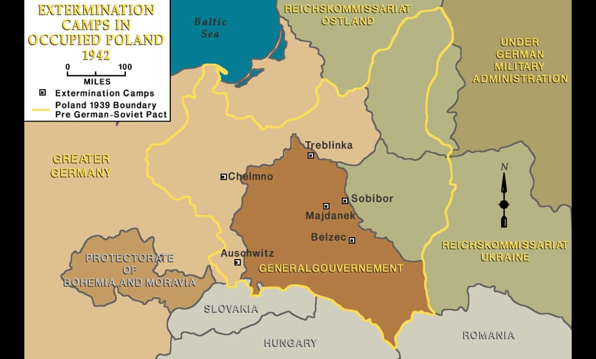 This map shows the extermination camps created in occupied Poland.