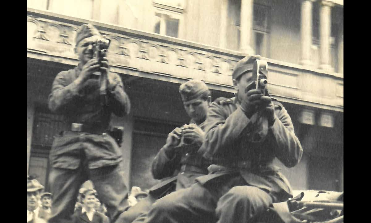 German Army soldiers film the massacre of Jews in the Lvov Pogroms of July 1941, carried out by the Einsatzgruppe C and the Ukrainian National Militia.