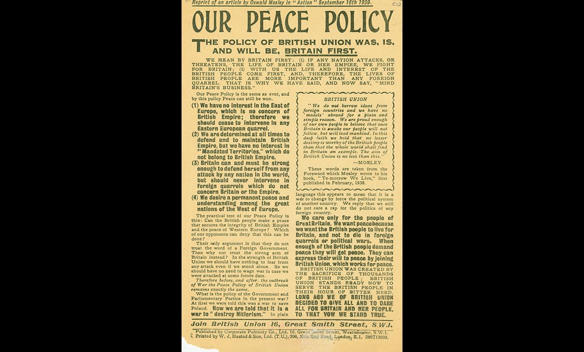 An anti-war article written by Oswald Mosley for the British Union of Fascists. It was first published on 16 September 1939.