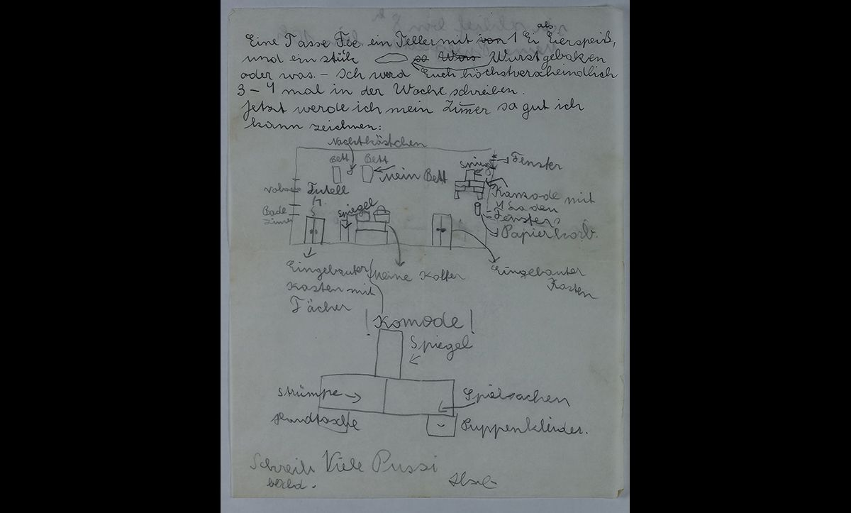 This drawing was included in a letter from Ilse to her parents on 14 July 1939, showing her new bedroom in England.
