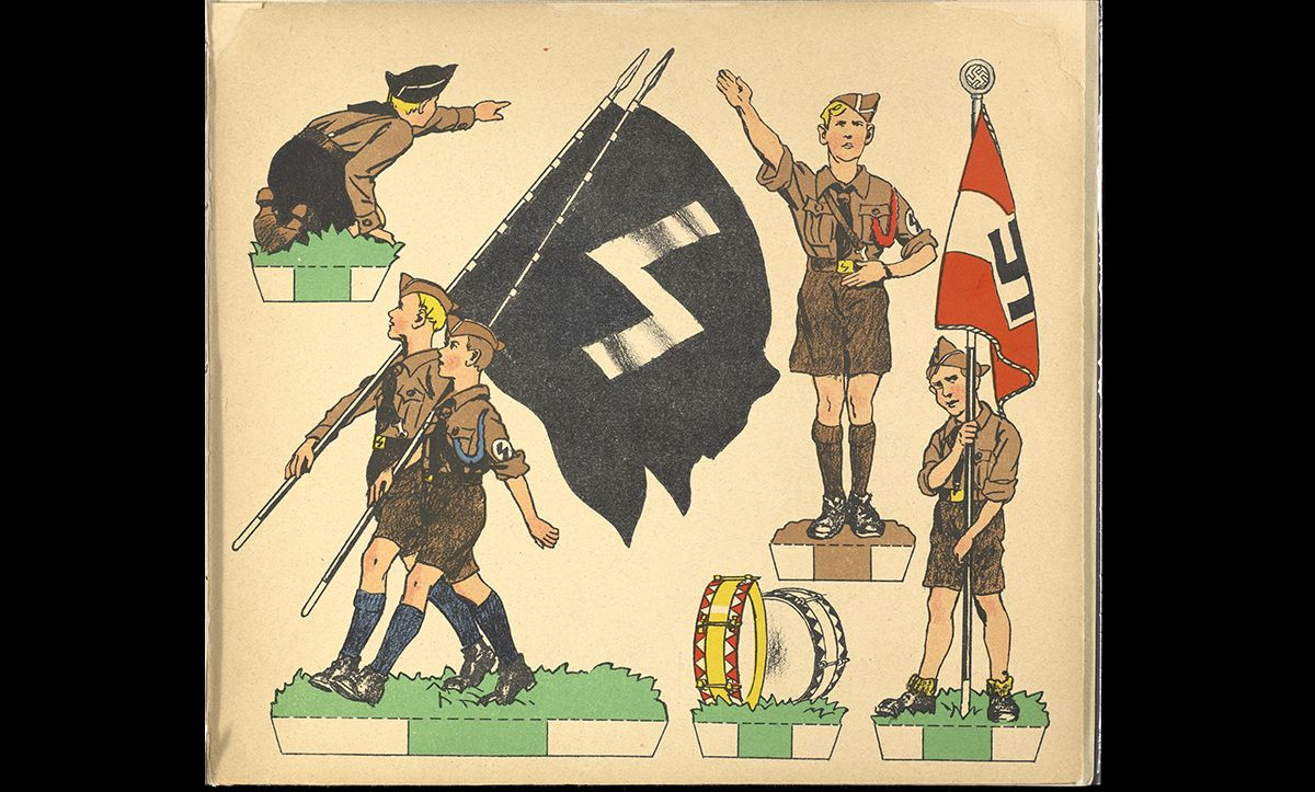 A page of a colouring book for young child about the Hitler Youth, produced in Germany in the 1930s.