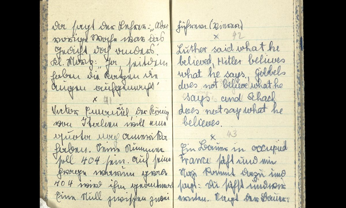 This handwritten diary was used to record anti-Nazi jokes in Germany before the war. It belonged to Kitty Fehr, a 15-year-old schoolgirl who emigrated to Britain in 1939, bringing her diary with her.
