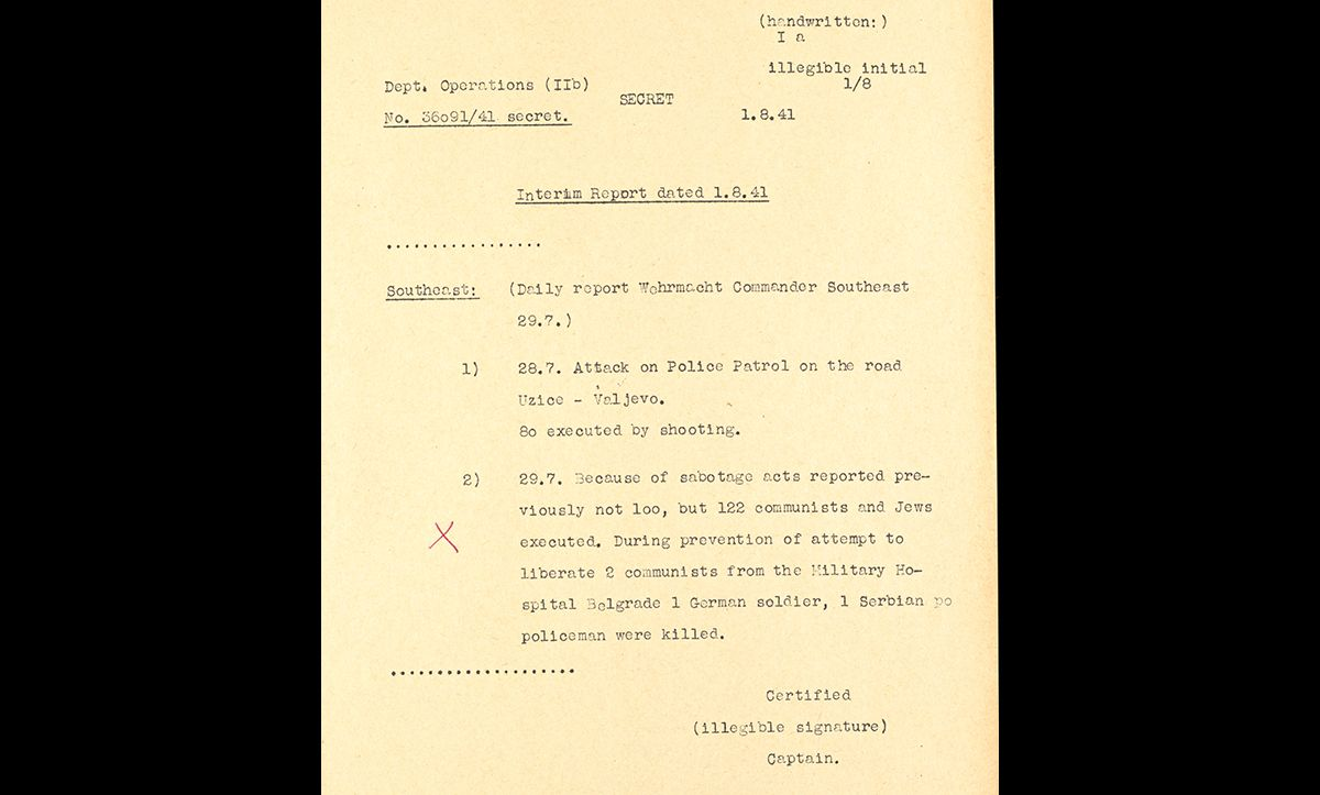 A report dated 29 July 1941 sent from the Wehrmacht Commander southeast mentioning the murder of 100 Jews in Belgrade, Serbia, following Jewish attempts at sabotage.