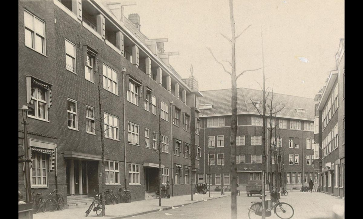 Throughout its time in Amsterdam, the Jewish Central Information Office was located in the building pictured, at 14 Jan van Eyckstraat.  The Wiener family lived in the flat below.
