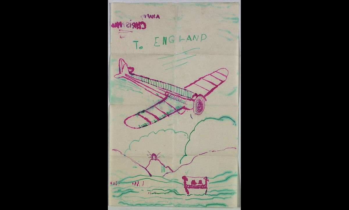 Although the Kindertransport is most commonly associated with trains, children came via lots of different methods of travel. Ramon Gärtner came to England in August 1939 via a Kindertransport flight. He later drew a picture of the plane in a letter to his parents.